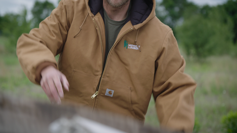 Custom Carhartt Work Jacket on Construction Worker