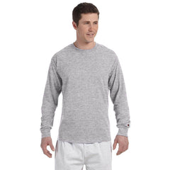 Champion Men's 5.2 oz Light Grey Long Sleeve Tagless T-Shirt