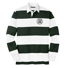 Sport-Tek Men's Forest Green/White Classic Long Sleeve Rugby Polo