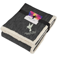 Field & Co. Black Heathered Fleece Sherpa Blanket with Card and Band