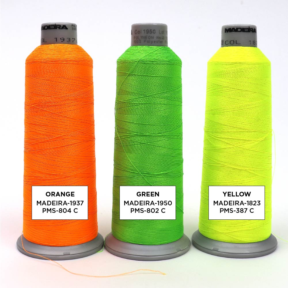 High Visibility and Neon Embroidery Thread Color Options