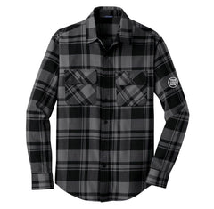 Custom Port Authority Men's Grey and Black Plaid Flannel Shirt