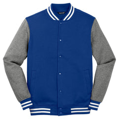 Sport-Tek Men's True Royal/Vintage Heather Fleece Letterman Jacket