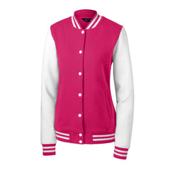 Sport-Tek Women's Pink Raspberry/White Fleece Letterman Jacket