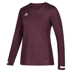 adidas Women's Maroon and White Team 19 Long Sleeve Jersey