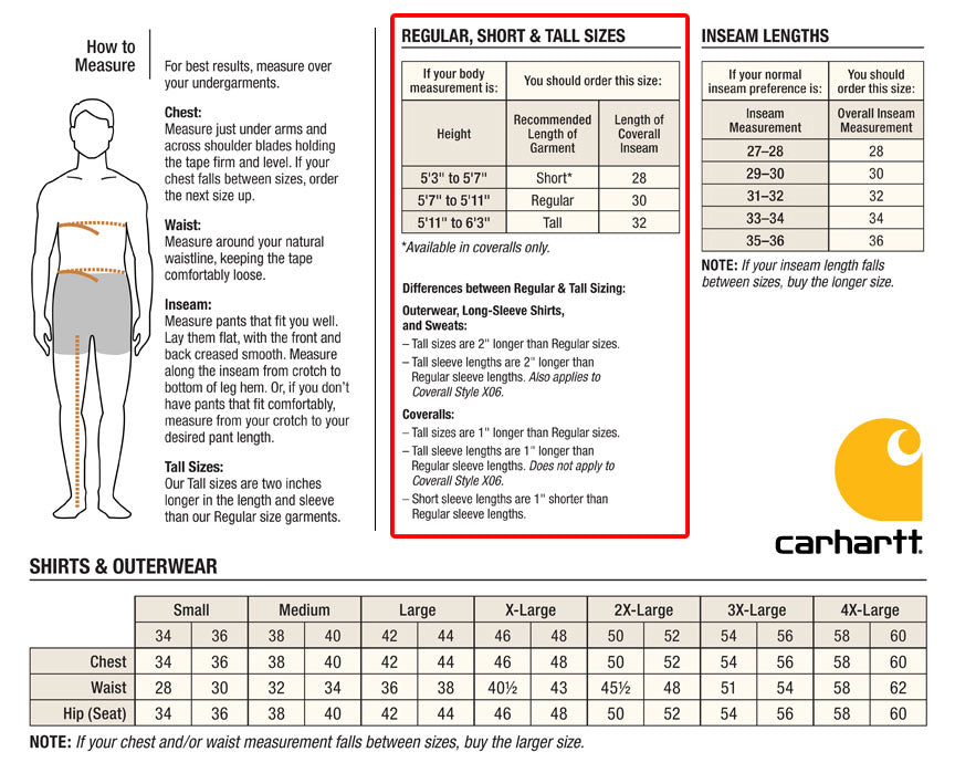 Product Sizing Charts Corporate Apparel Sizes And Measurements