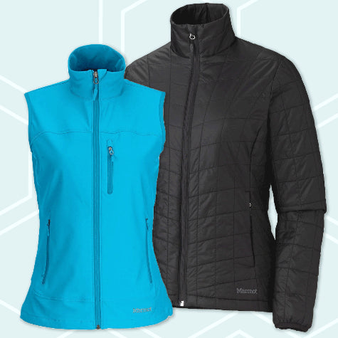 Shop corporate logo branded Marmot jackets and outerwear for women today