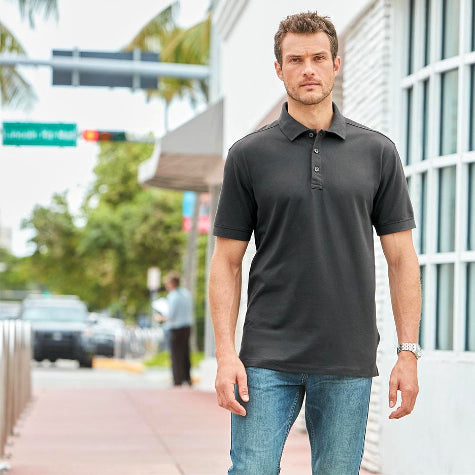 Add your company logo to create corporate Port Authority polo shirts for men
