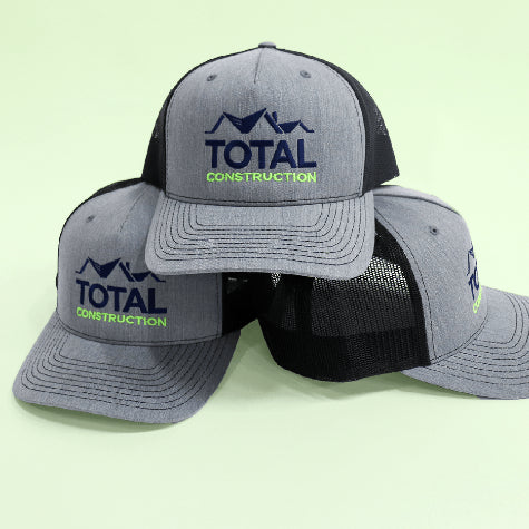 Get your company logo embroidered on corporate Richardson hats, trucker hats, and baseball caps with Merchology