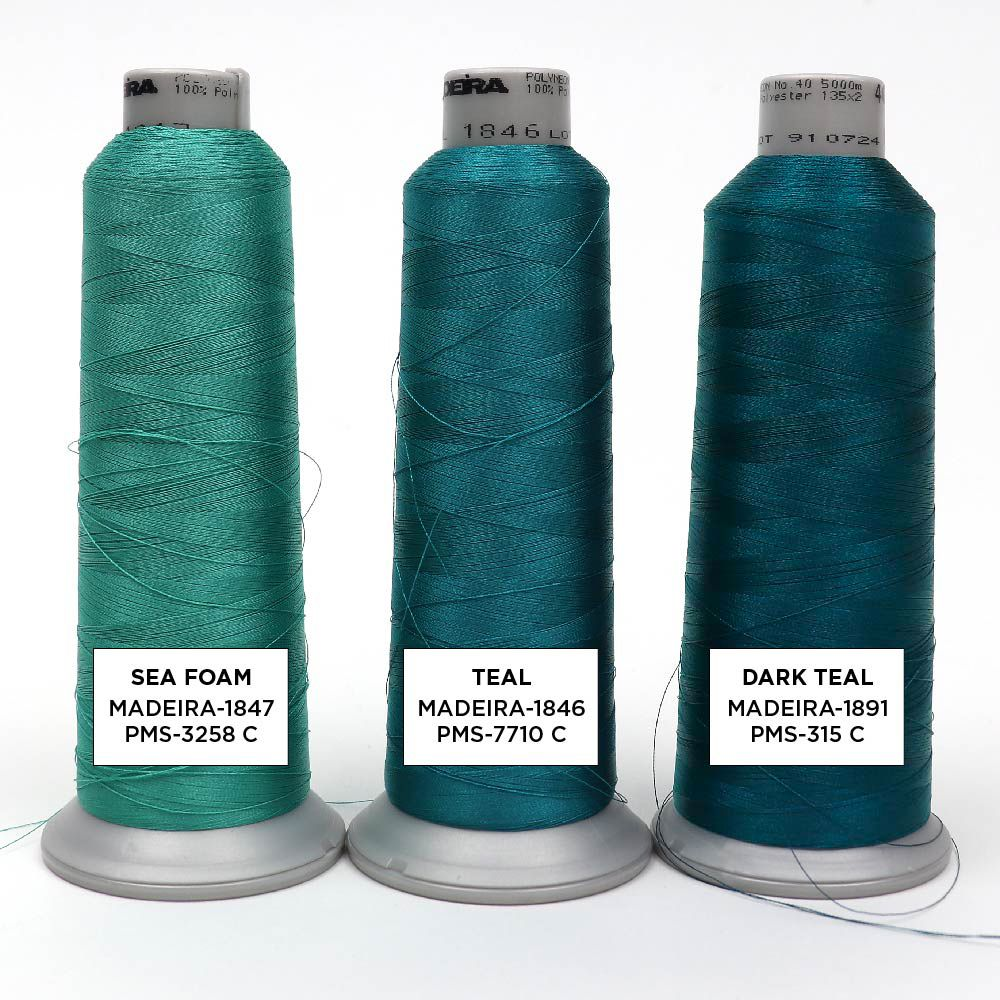 Teal Embroidery Thread Colors