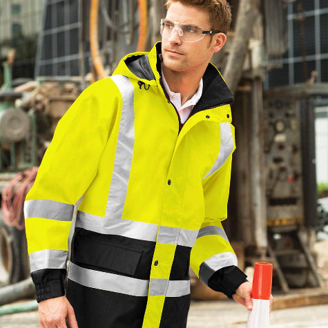 Add your construction or safety company logo to high-visibility custom Port Authority apparel and workwear