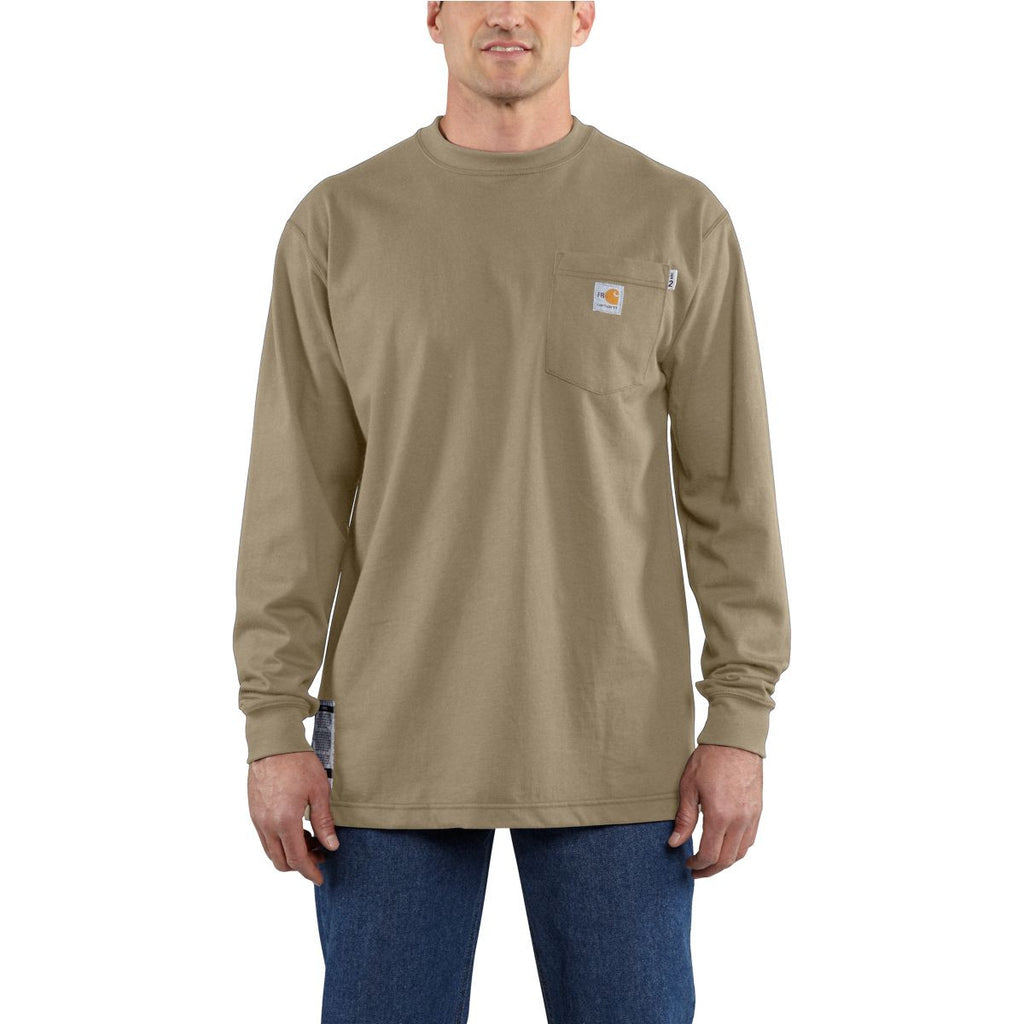 Carhartt Men's Tall Khaki Flame-Resistant Carhartt Force Cotton L/S T-Shirt