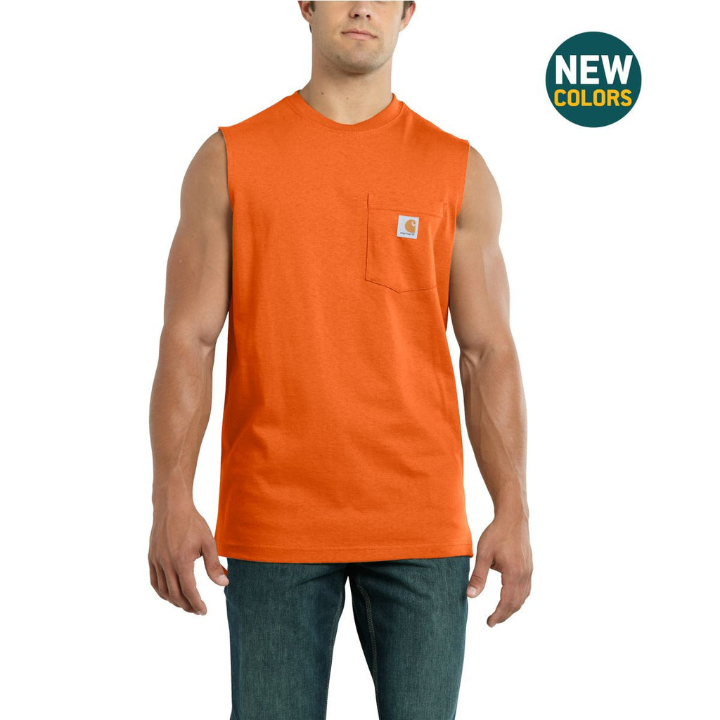 Carhartt Men's Orange Workwear Pocket Sleeveless T-Shirt