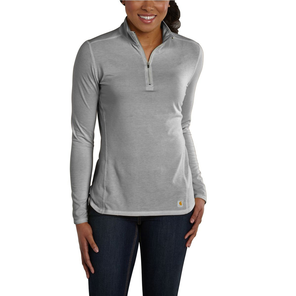 Carhartt Women's Asphalt Heather Force Quarter Zip Shirt