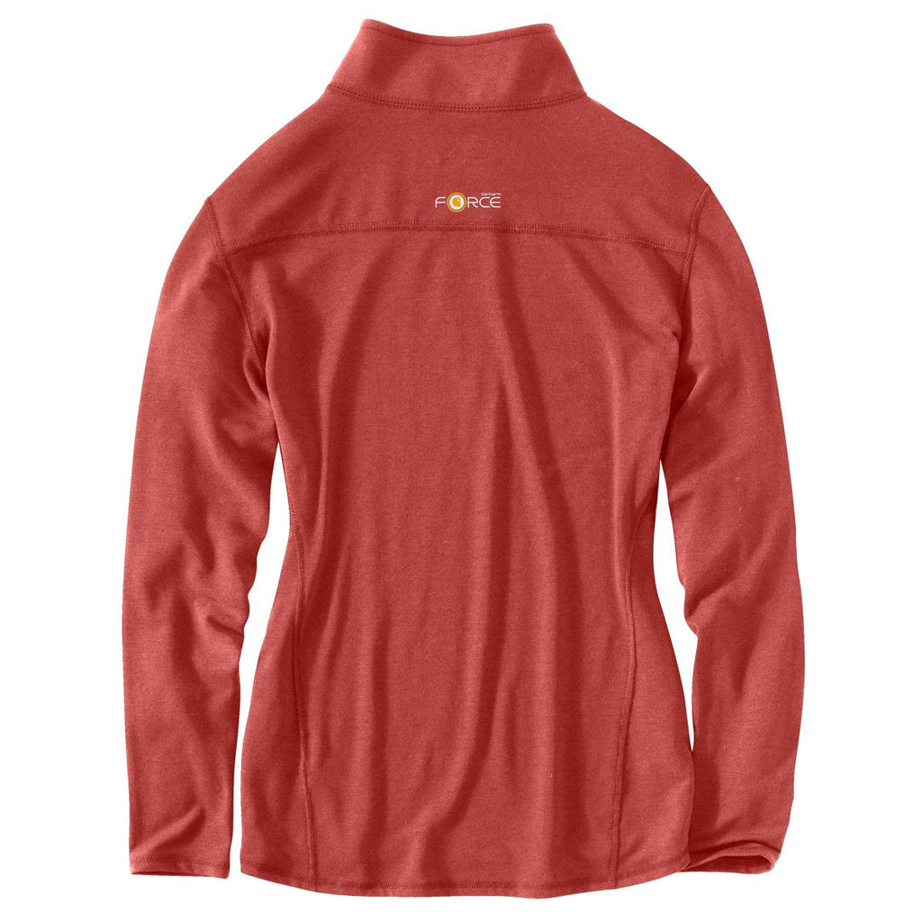 Carhartt Women's Wild Rose Heather Force Quarter Zip Shirt
