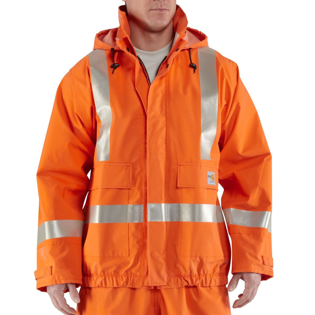 Carhartt Men's Bold Orange Flame-Resistant Rain Jacket