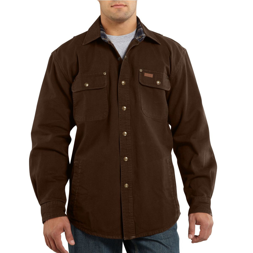 Carhartt men 39 s dark brown weathered canvas shirt jacket for Black brown mens shirts