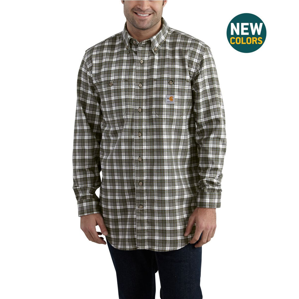 Carhartt Men's Grey Flame-Resistant Classic Plaid Shirt