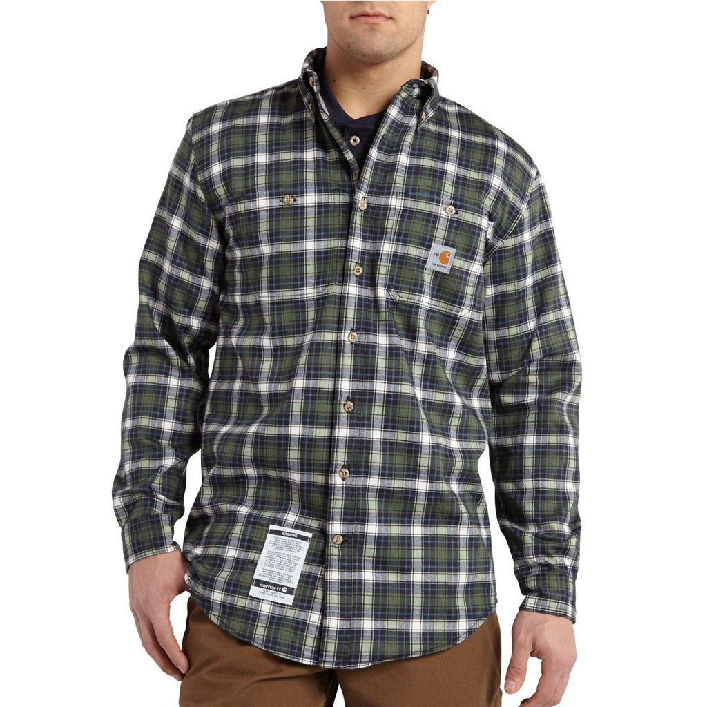Carhartt Men's Moss Flame-Resistant Classic Plaid Shirt