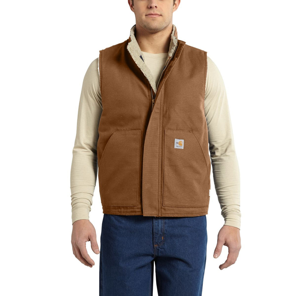 Carhartt Men's Carhartt Brown Flame-Resistant Mock Neck Vest