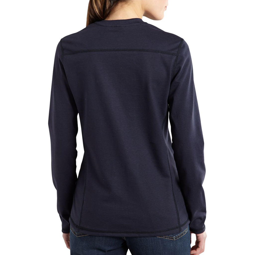 Carhartt Women's Dark Navy Flame-Resistant Force Cotton Long Sleeve T Shirt