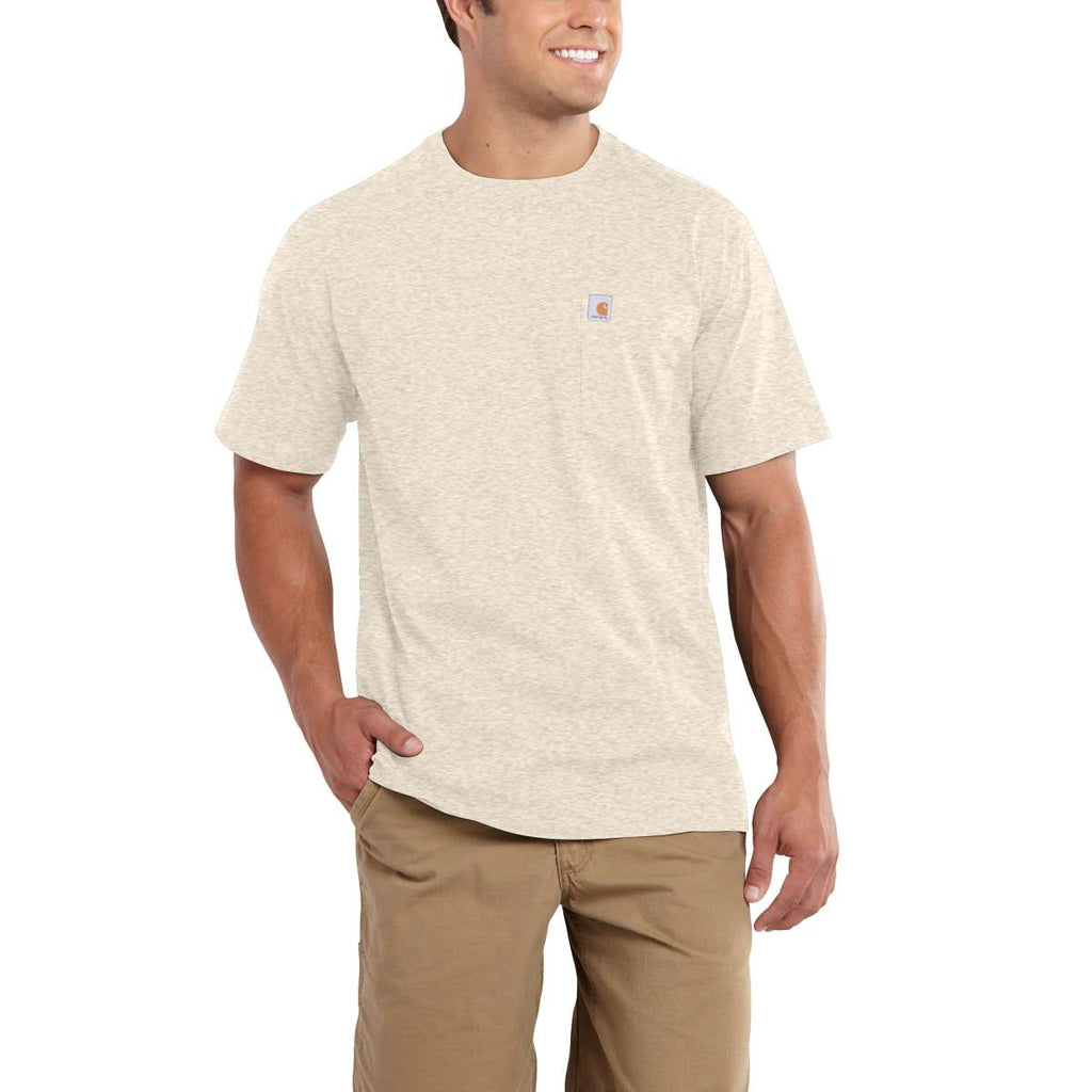 Carhartt Men's Oatmeal Heather Maddock Pocket Short Sleeve T-Shirt