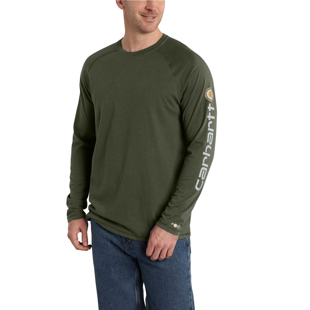 Carhartt Men's Moss Force Cotton Delmont Sleeve Graphic T-Shirt