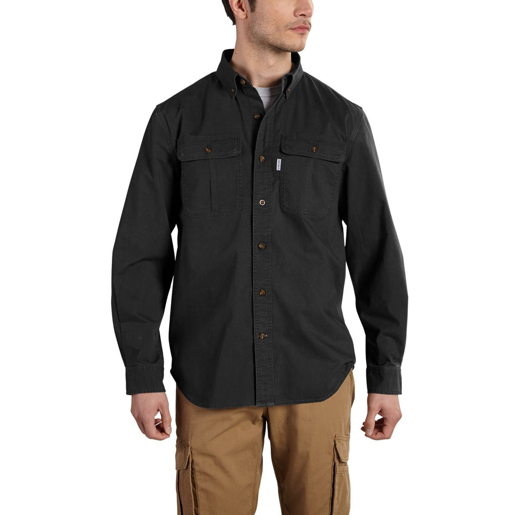 Carhartt Men's Black Foreman Solid Long Sleeve Work Shirt