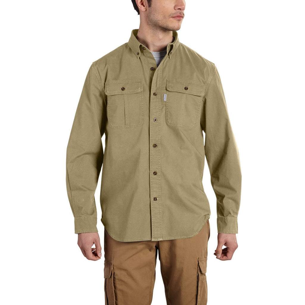 Carhartt Men's Dark Khaki Foreman Solid Long Sleeve Work Shirt