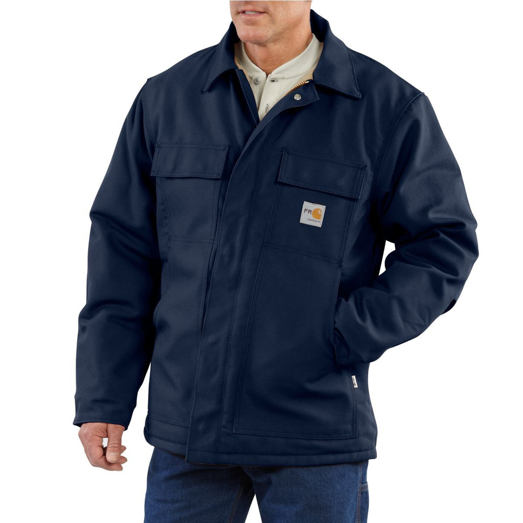 Carhartt Men's Tall Dark Navy Flame-Resistant Duck Traditional Coat
