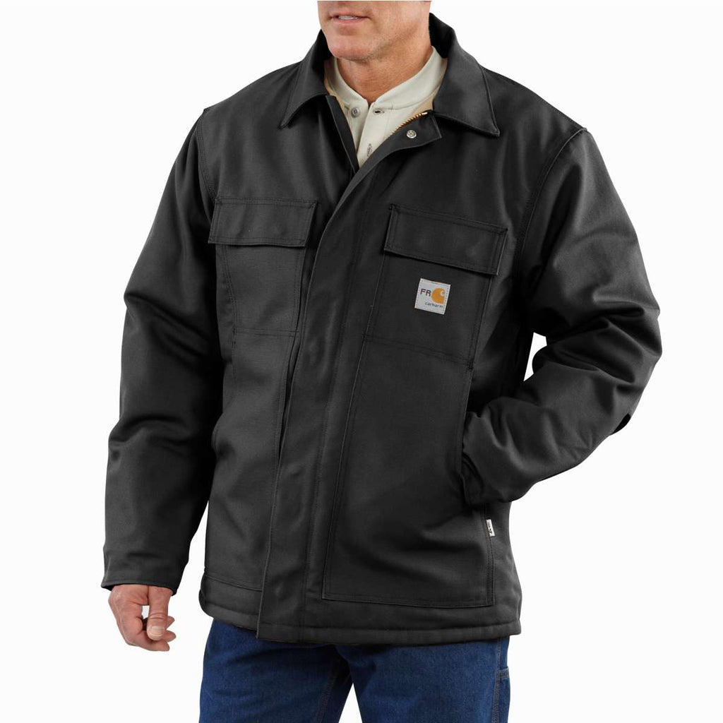Carhartt Men's Tall Black Flame-Resistant Duck Traditional Coat