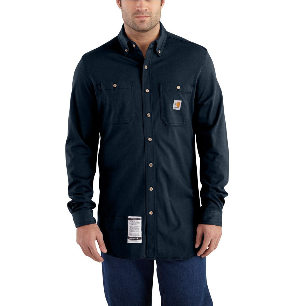 Carhartt Men's Dark Navy Flame-Resistant Force Cotton Hybrid Shirt
