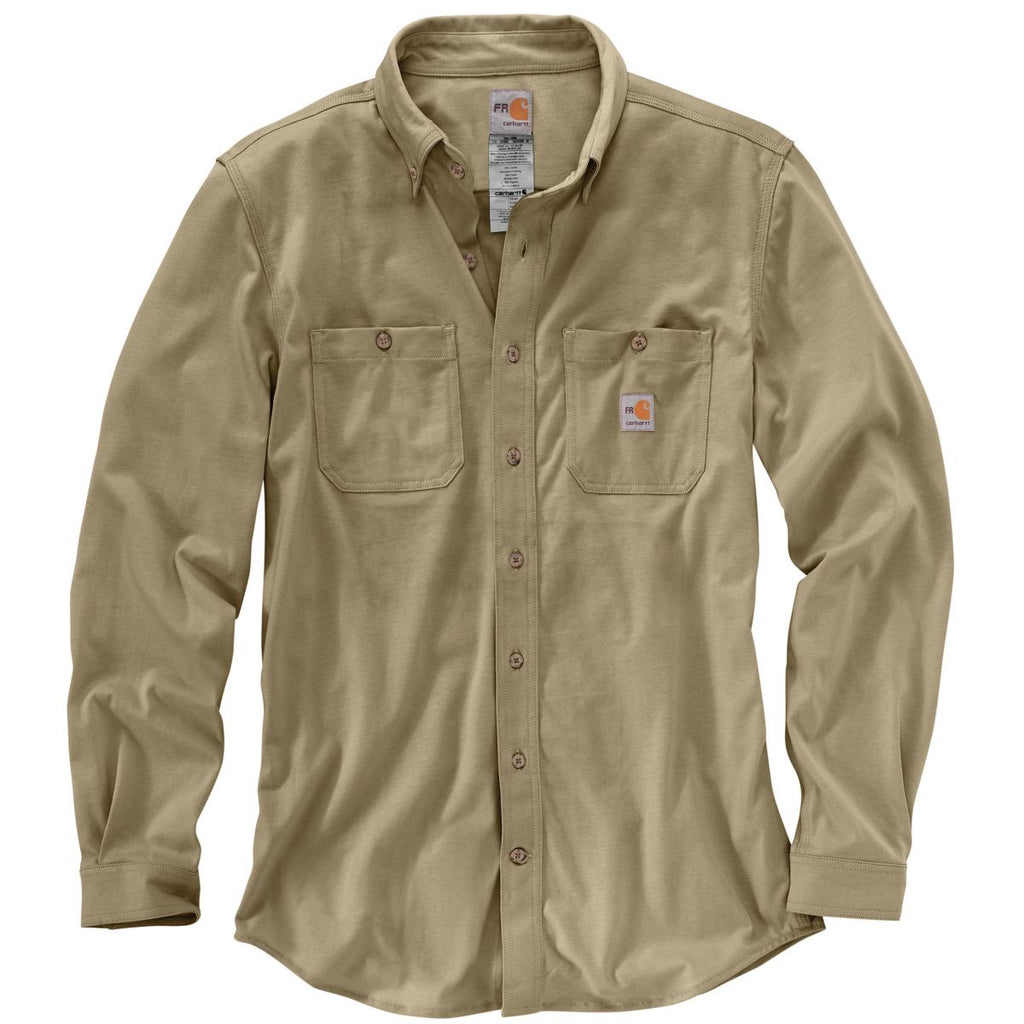 carhartt men 39 s khaki flame resistant force cotton hybrid shirt