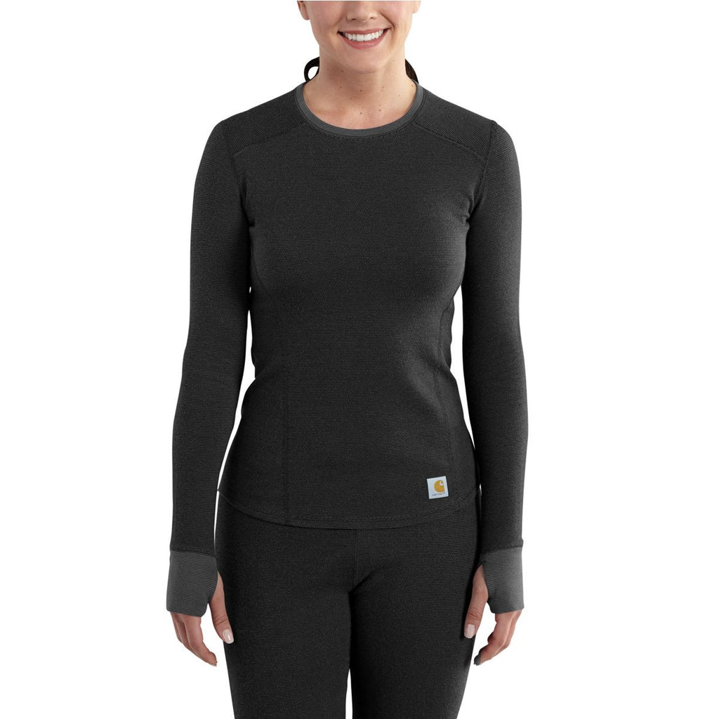 Carhartt Women's Black Base Force Cold Weather Crewneck Top