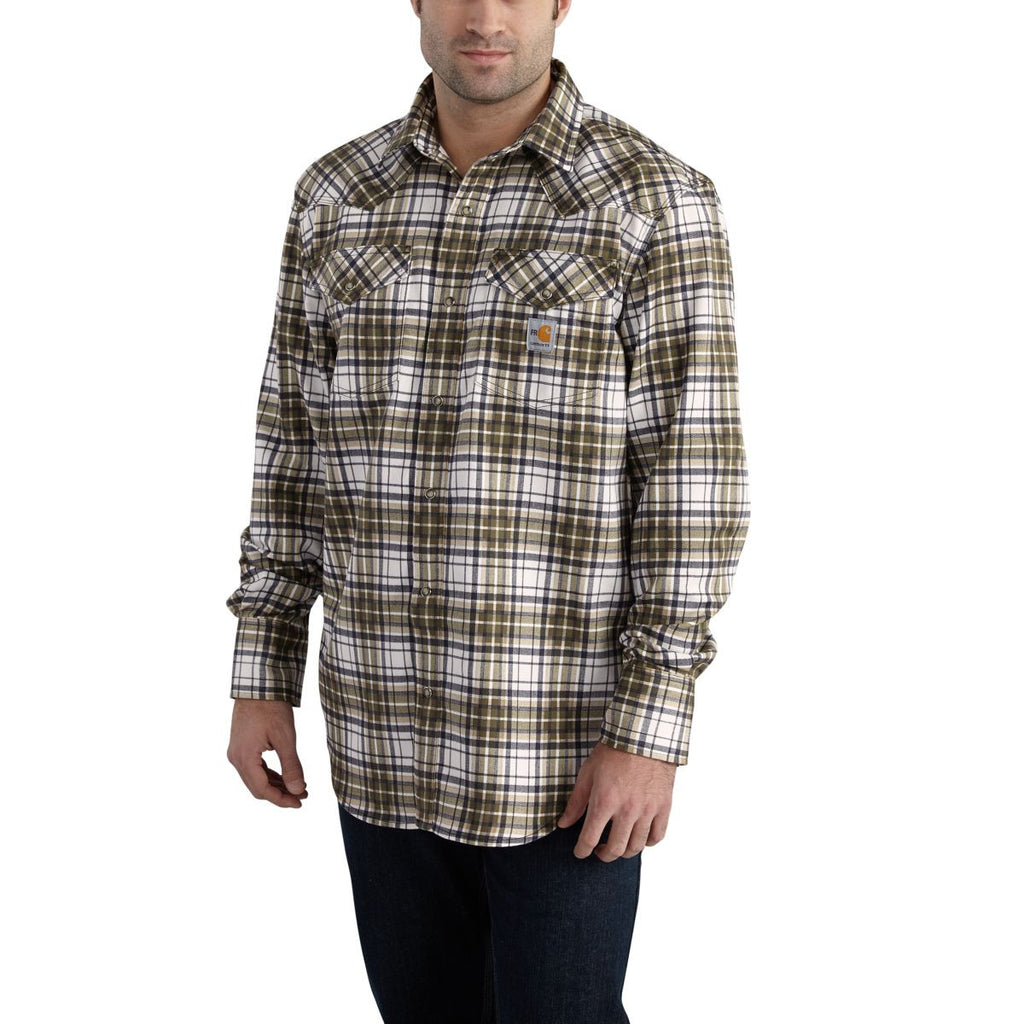 Carhartt Men's Moss Flame-Resistant Snap Front Plaid Shirt