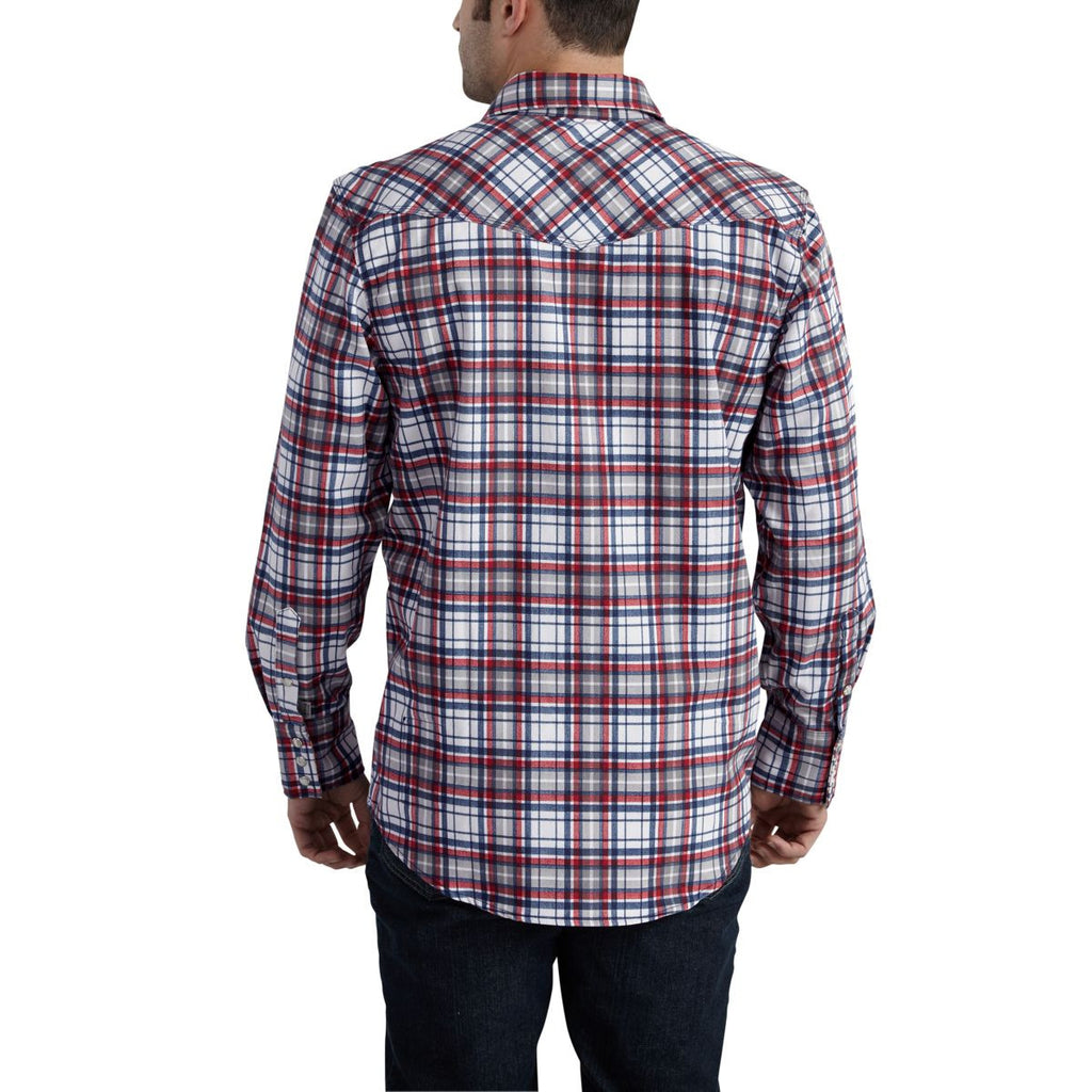 Carhartt Men's Navy Flame-Resistant Snap Front Plaid Shirt