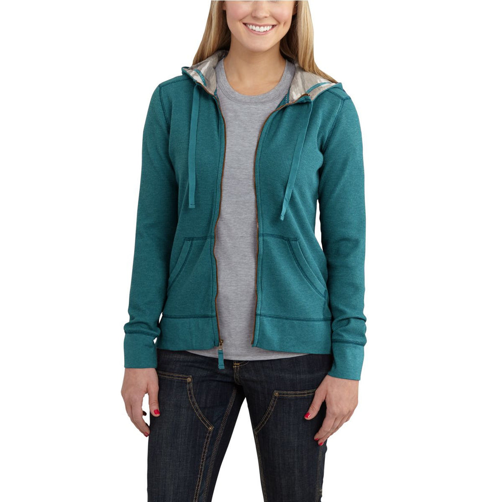 Carhartt Women's Teal Blue Heather Meadow Zip Front Hoodie