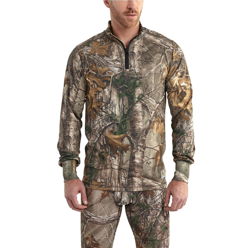 Carhartt Men's Realtree Xtra Base Force Extremes Cold Whether Camo Quarter Zip