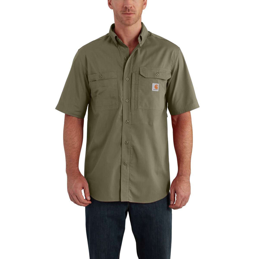 Carhartt Men's Burnt Olive Force Ridgefield Solid SS Shirt