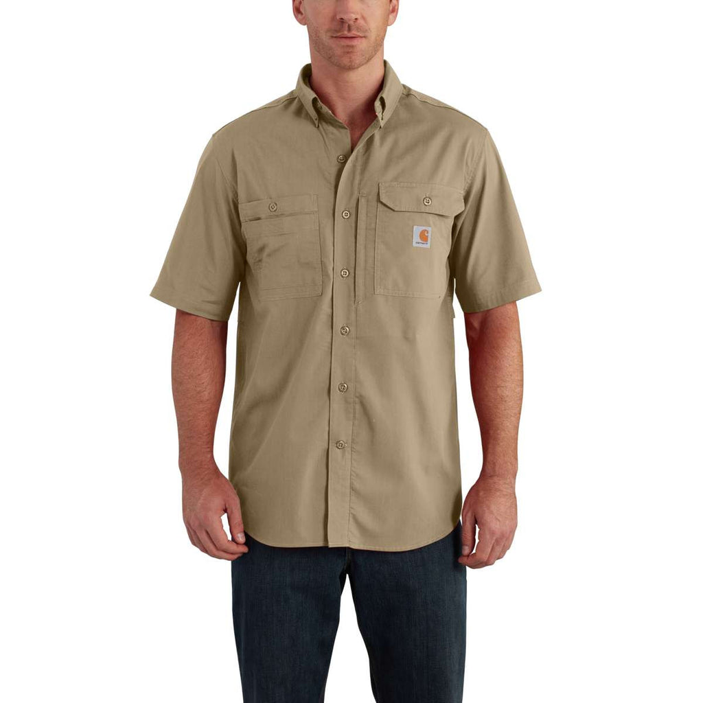 Carhartt Men's Dark Khaki Force Ridgefield Solid SS Shirt