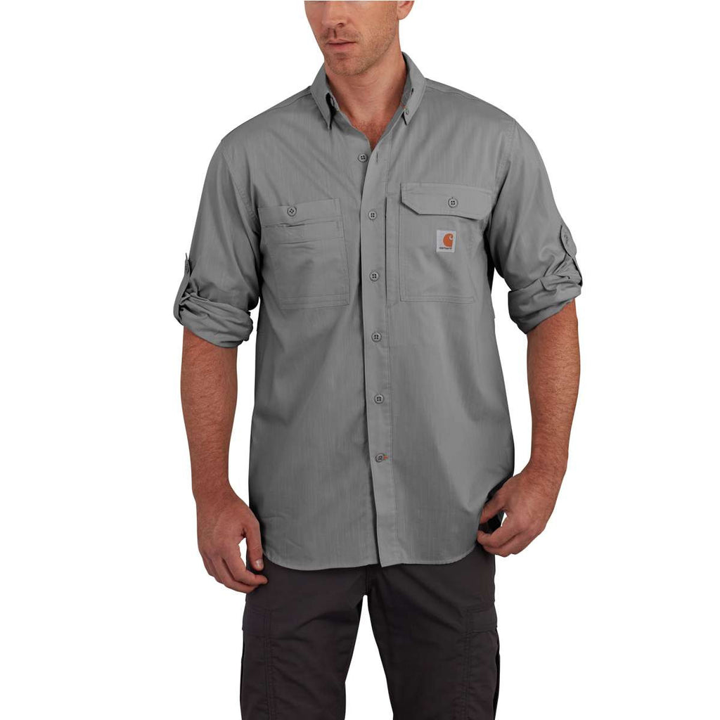 Carhartt Men's Asphalt Force Ridgefield Solid LS Shirt