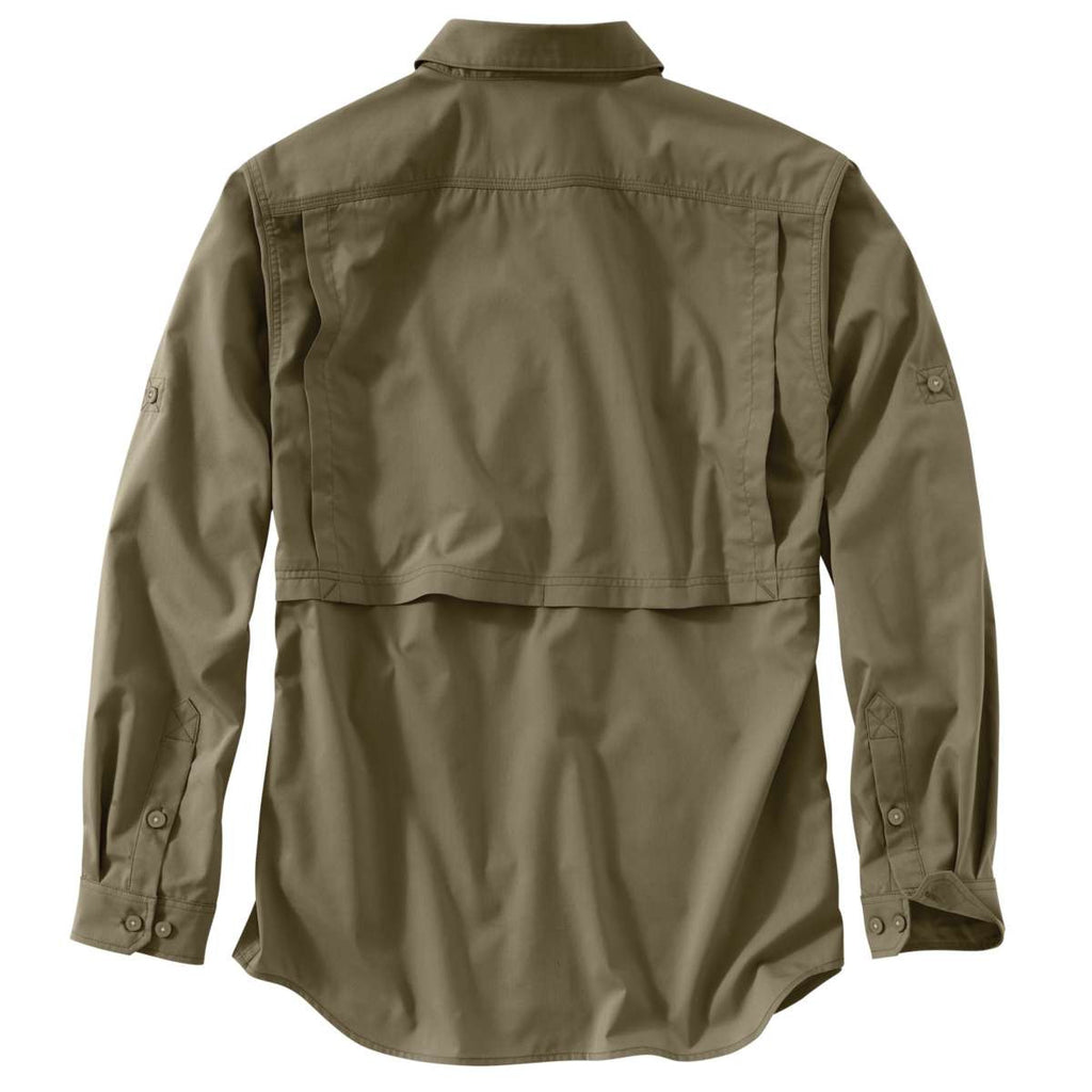 Carhartt Men's Burnt Olive Force Ridgefield Solid LS Shirt