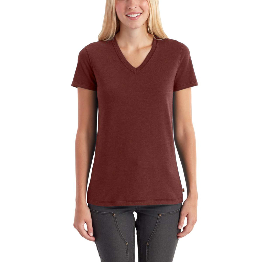 Carhartt Women's Fired Brick Heather Lockhart Short Sleeve V-Neck T-Shirt
