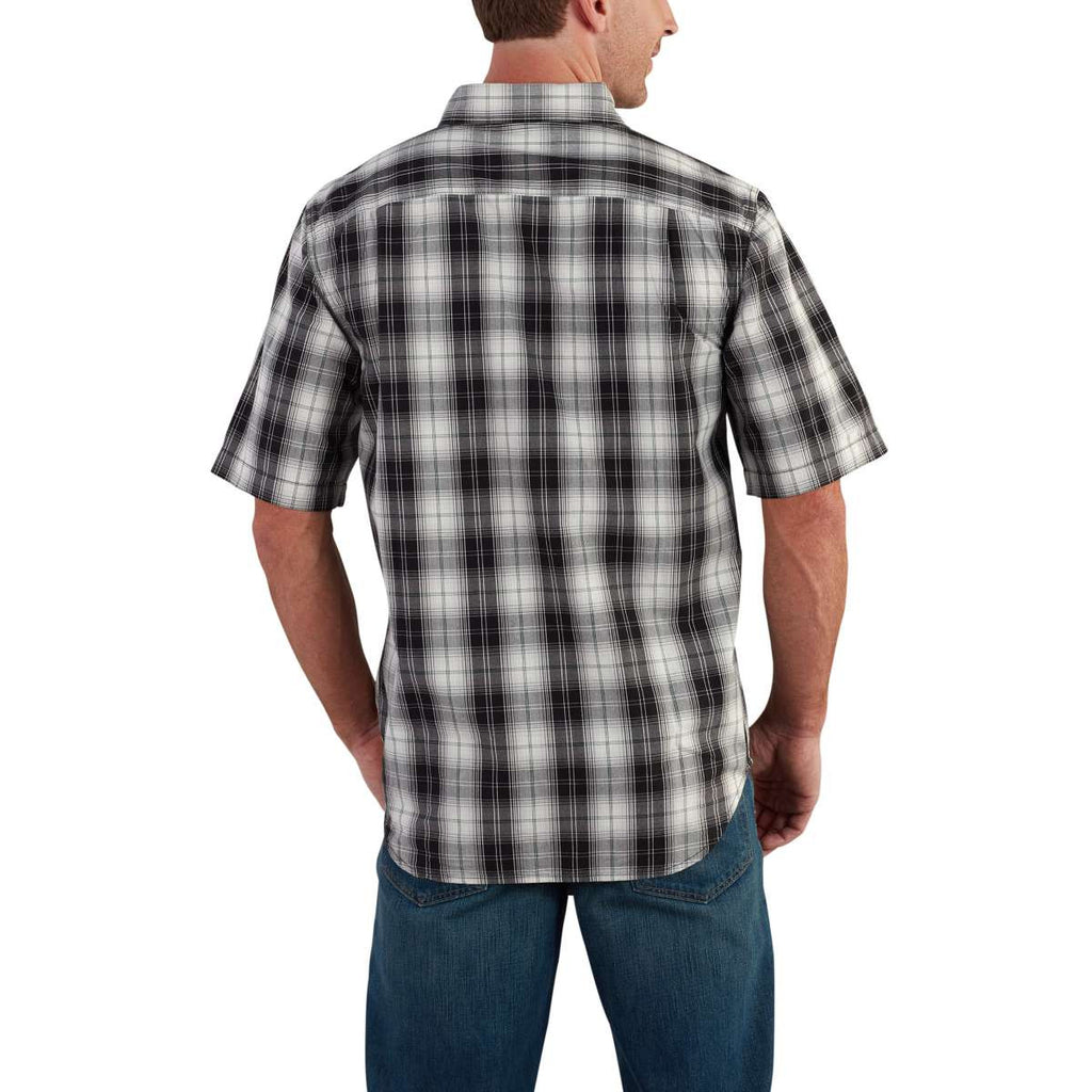 Carhartt Men's Black Essential Plaid Button Down SS Shirt