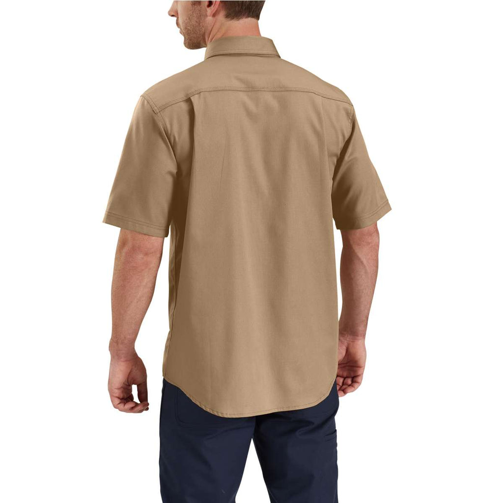 Carhartt Men's Dark Khaki Rugged Professional Short Sleeve Work Shirt