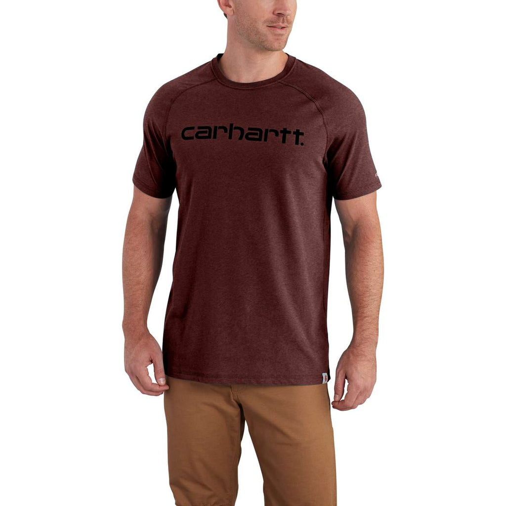 Carhartt men 39 s red brown heather force cotton delmont gphc for Carhartt burgundy t shirt