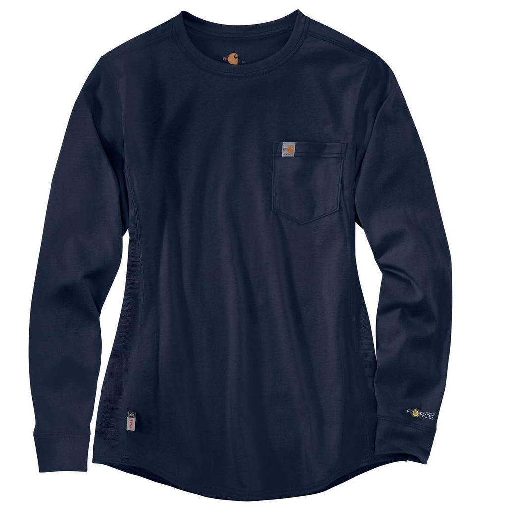 faefe6141094 Carhartt Women's Dark Navy Force Cotton Long-Sleeve Crewneck T-Shirt. ADD  YOUR LOGO