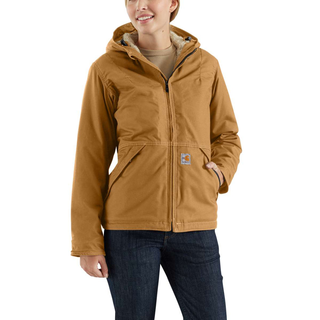 Carhartt Women's Carhartt Brown Full Swing Quick Duck Sherpa-Lined Flame-Resistant Jacket