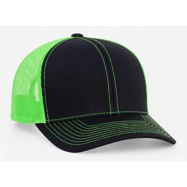 Pacific Headwear Black Neon Green Snapback Trucker Mesh Cap