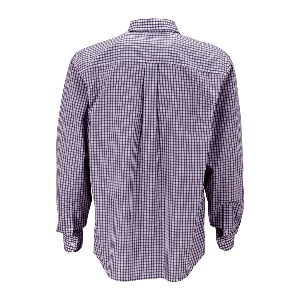 Vantage men 39 s purple white easy care gingham check shirt for Purple and white checked shirt